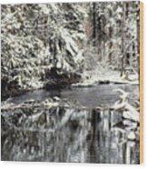 Snow Stream Wood Print