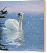 Snow Swan Swim Wood Print