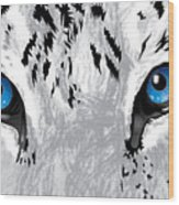 Snow Tiger's Soul In Blue Wood Print