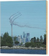 Snowbirds Circle Cn Tower Wood Print
