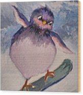 Snowboard Bird Wood Print by Diane Ursin