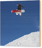 Snowboarder In Serre Chevalier France Wood Print