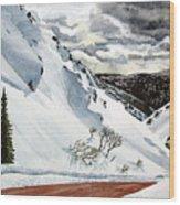 Snowboarding Wood Print