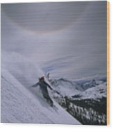 Snowboarding Down A Peak In Yosemite Wood Print
