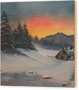 Snowbound Sunrise Wood Print