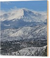 Snowcovered Pikes Peak Wood Print