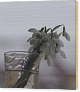 Snowdrops Bouquet In The Glass Wood Print