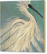 Snowey Egret Tropical Wood Print