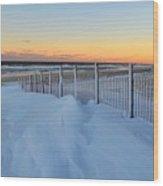 Snowfall At The Shore Wood Print