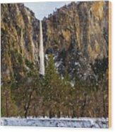 Snowfall Bridalveil Falls Wood Print