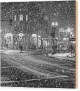 Snowfall In Harvard Square Cambridge Ma 2 Black And White Wood Print