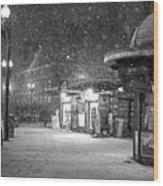 Snowfall In Harvard Square Cambridge Ma Kiosk Black And White Wood Print