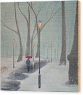 Snowfall In The Park Wood Print