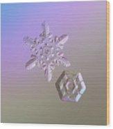Snowflake Photo - Two Hearts Wood Print
