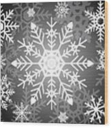 Snowflakes Black And White Wood Print