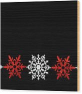Snowflakes In A Row Wood Print