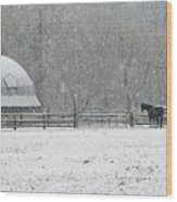 Snowing At The Round Barn Wood Print