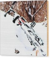 Snowing On The Bicycle Wood Print
