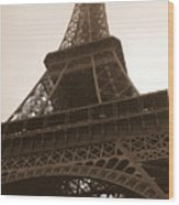 Snowing On The Eiffel Tower Wood Print