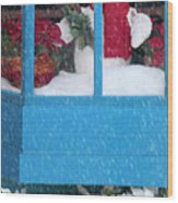 Snowman And Poinsettias - Frosty Christmas Wood Print