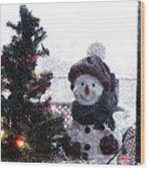 Snowman And Tree Pa Wood Print