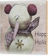 Snowman Greeting Card Wood Print