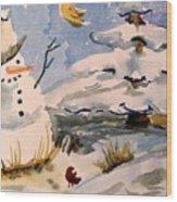 Snowman Hug Wood Print