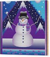 Snowman Juggler Wood Print