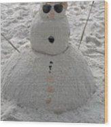 Snowman On The Beach Wood Print