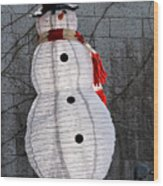Snowman On The Roof Wood Print