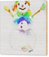 Snowman With Rainbow 1 Wood Print