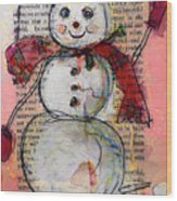 Snowman With Red Hat And Mistletoe Wood Print