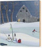 Snowmen On Hockey Pond Wood Print