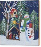 Snowmen With Creche Wood Print