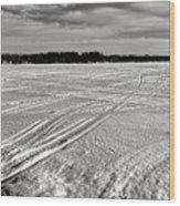 Snowmobile Tracks On China Lake Wood Print