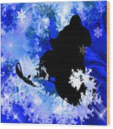 Snowmobiling In The Avalanche  Wood Print