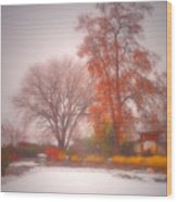 Snowstorm In The Japanese Gardens Wood Print