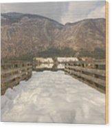 Snowy Alpine Lake Wood Print
