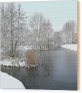 Chilled Scenery Around Frozen Canals Wood Print