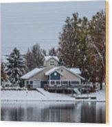 Snowy Boat House Wood Print