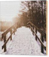 Snowy Bridge Wood Print by Wim Lanclus
