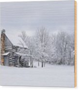 Snowy Cabin Wood Print by Benanne Stiens