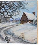 Snowy Chalet Wood Print