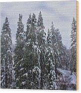 Snowy Christmas At Big Bear Lake Wood Print