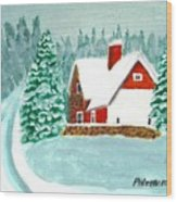 Snowy Cottage Wood Print
