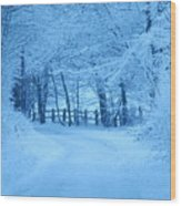 Snowy Country Lane Wood Print