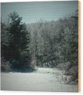 Snowy Creek Bend Wood Print