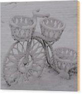 Snowy Cycle Wheel Wood Print
