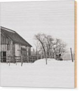 Snowy Day At The Farm Wood Print