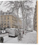 Snowy Day In Paris Wood Print
